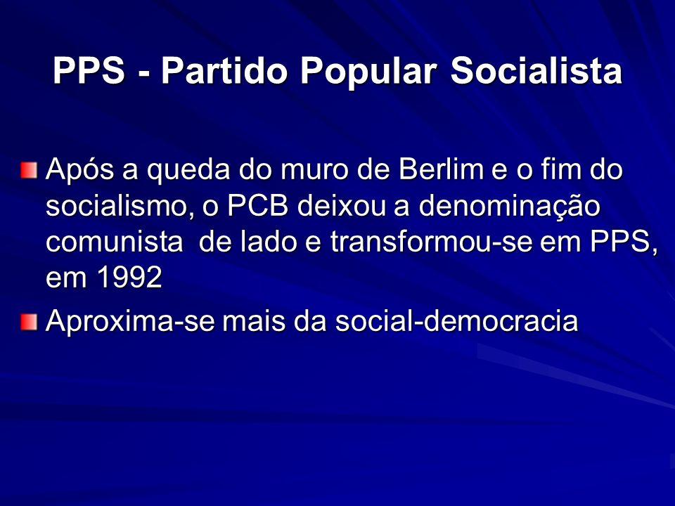PPS - Partido Popular Socialista Após a queda do muro de Berlim e o fim do socialismo, o PCB deixou a denominação comunista de lado e transformou-se e