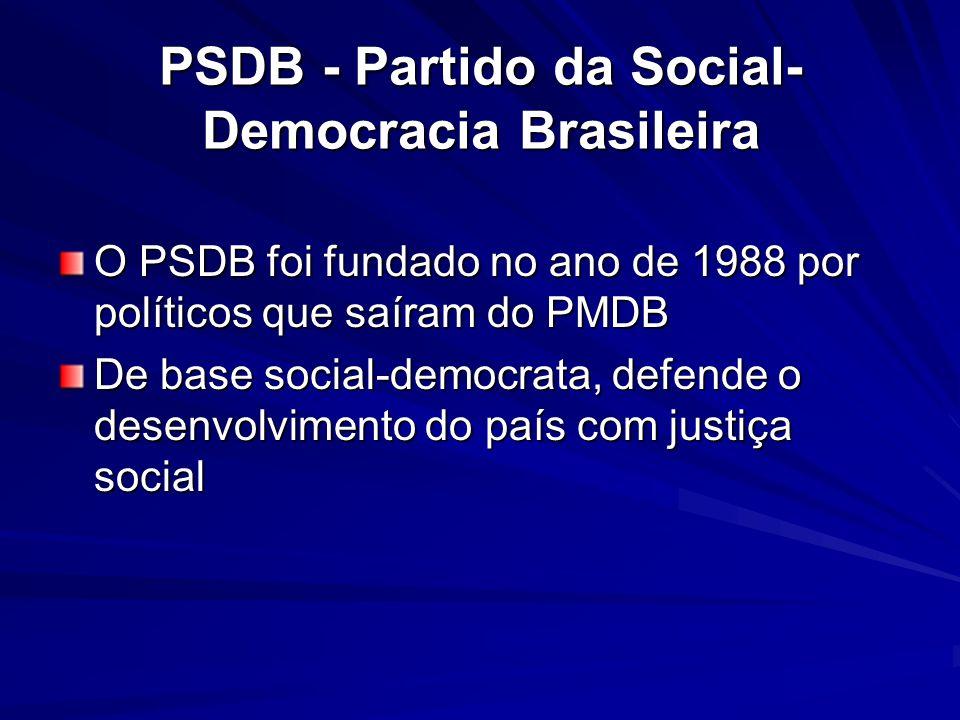PSDB - Partido da Social- Democracia Brasileira O PSDB foi fundado no ano de 1988 por políticos que saíram do PMDB De base social-democrata, defende o
