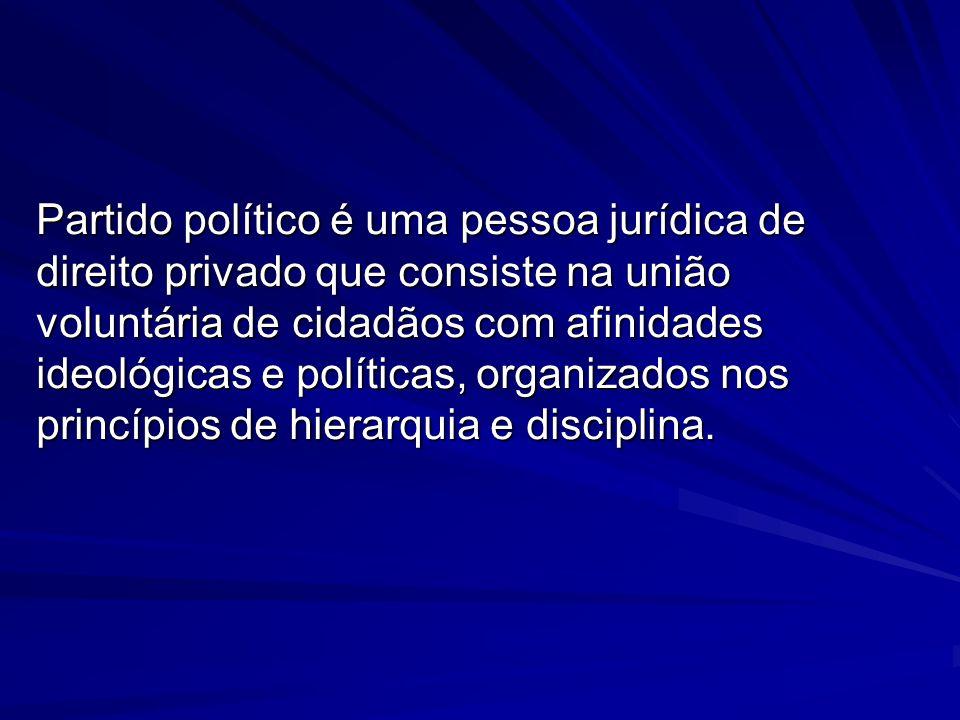 Partido político é uma pessoa jurídica de direito privado que consiste na união voluntária de cidadãos com afinidades ideológicas e políticas, organiz