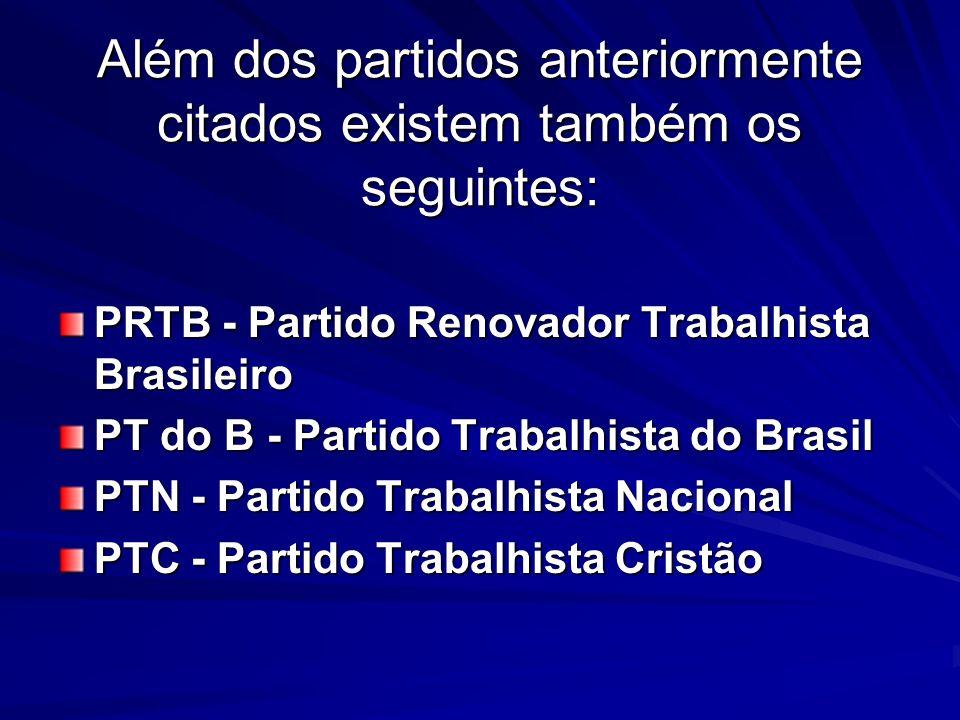 Além dos partidos anteriormente citados existem também os seguintes: PRTB - Partido Renovador Trabalhista Brasileiro PT do B - Partido Trabalhista do