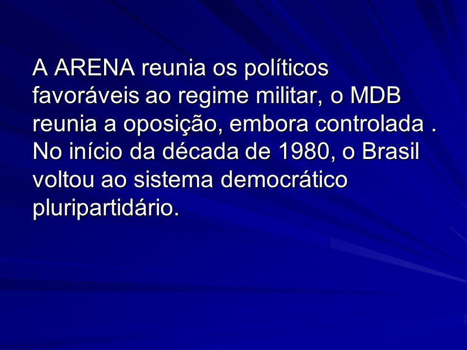 A ARENA reunia os políticos favoráveis ao regime militar, o MDB reunia a oposição, embora controlada. No início da década de 1980, o Brasil voltou ao