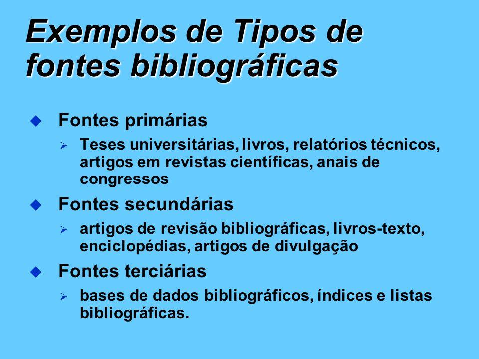 Exemplos de Tipos de fontes bibliográficas Fontes primárias Teses universitárias, livros, relatórios técnicos, artigos em revistas científicas, anais