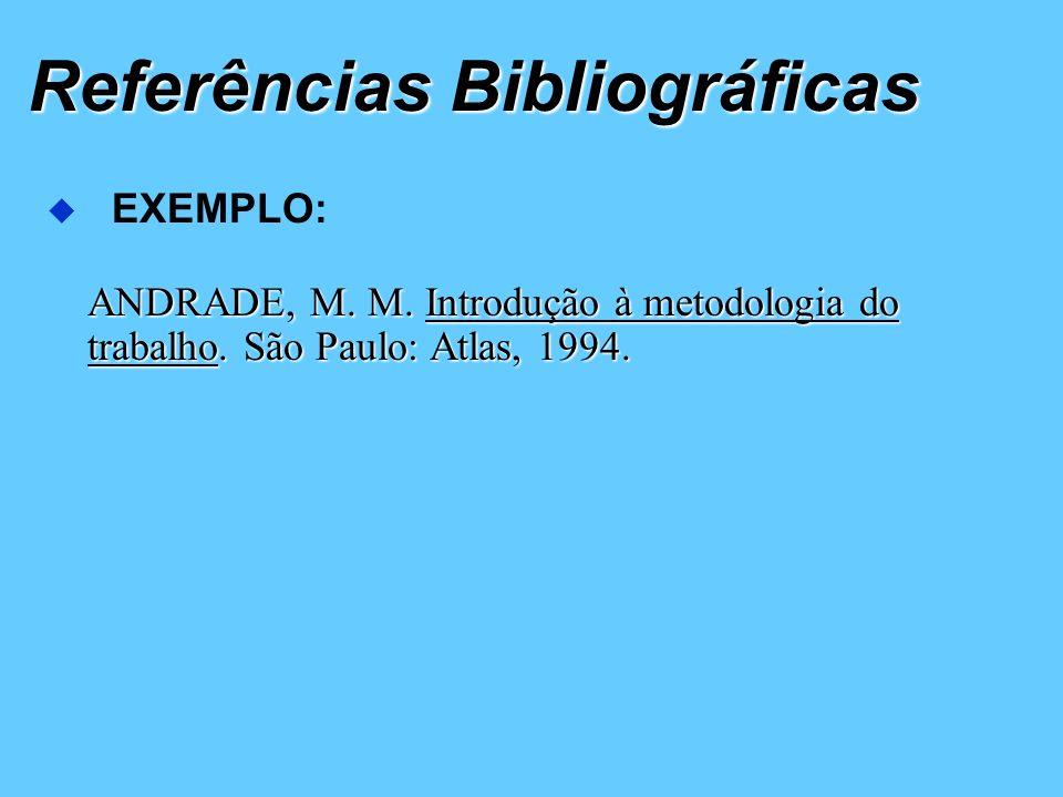 Referências Bibliográficas ANDRADE, M. M.Introdução à metodologia do ANDRADE, M. M. Introdução à metodologia do trabalho. São Paulo: Atlas, 1994. EXEM