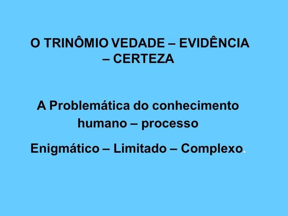 O TRINÔMIO VEDADE – EVIDÊNCIA – CERTEZA A Problemática do conhecimento humano – processo Enigmático – Limitado – Complexo.