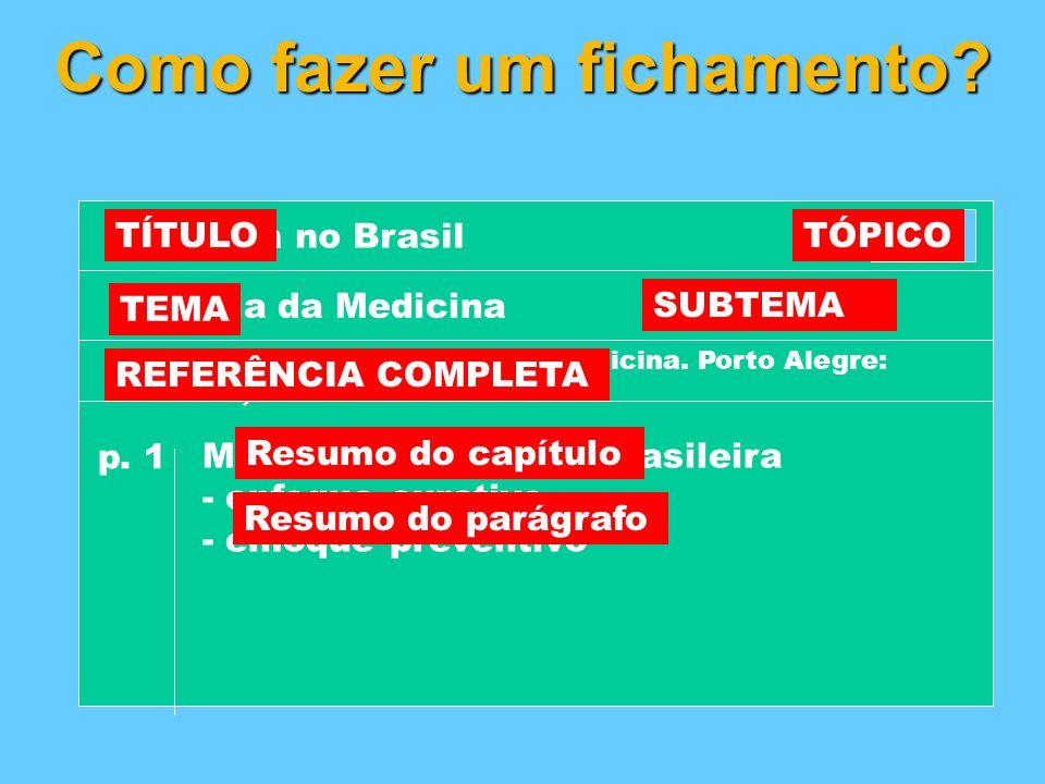 Como fazer um fichamento? 5.3 Medicina no Brasil História da MedicinaBrasil p. 1 Medicina na história brasileira - enfoque curativo - enfoque preventi