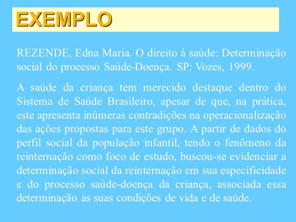 EXEMPLO REZENDE, Edna Maria. O direito à saúde: Determinação social do processo Saúde-Doença. SP: Vozes, 1999. A saúde da criança tem merecido destaqu