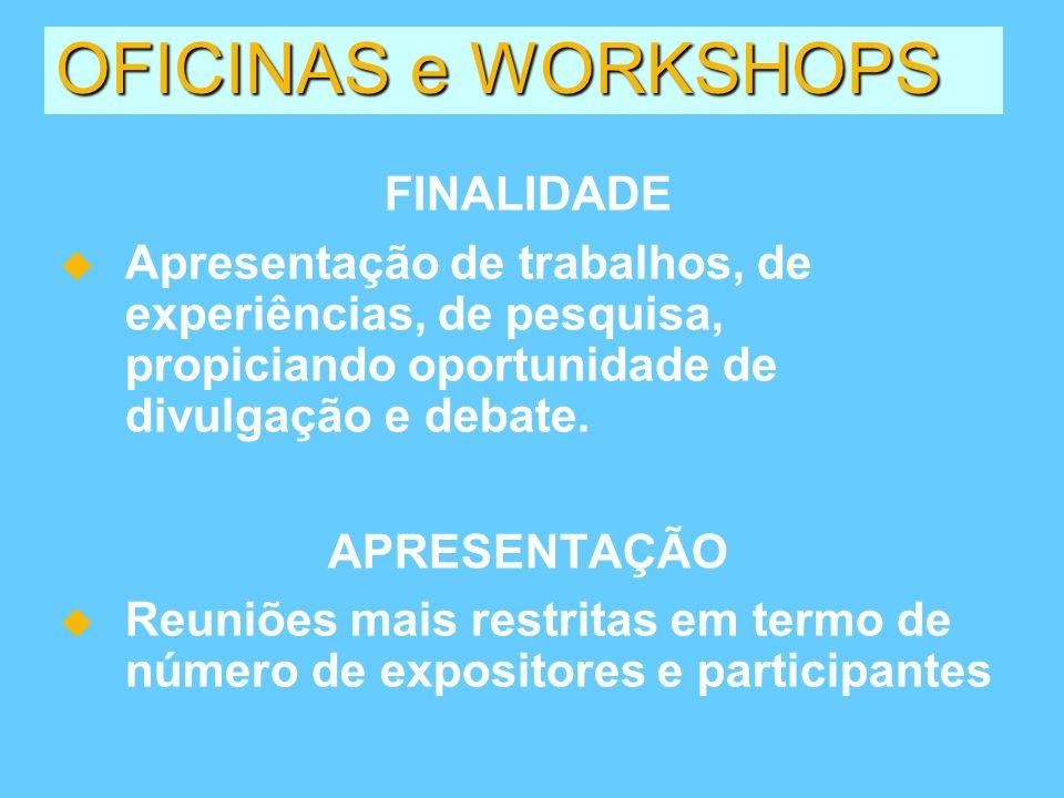 OFICINAS e WORKSHOPS FINALIDADE Apresentação de trabalhos, de experiências, de pesquisa, propiciando oportunidade de divulgação e debate. APRESENTAÇÃO