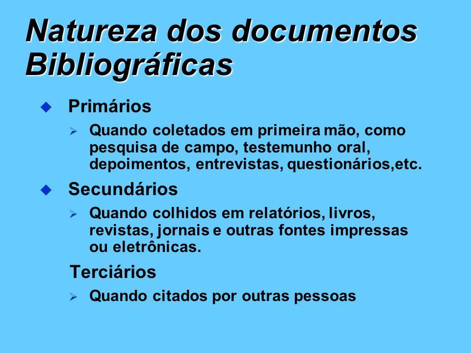 Natureza dos documentos Bibliográficas Primários Quando coletados em primeira mão, como pesquisa de campo, testemunho oral, depoimentos, entrevistas,