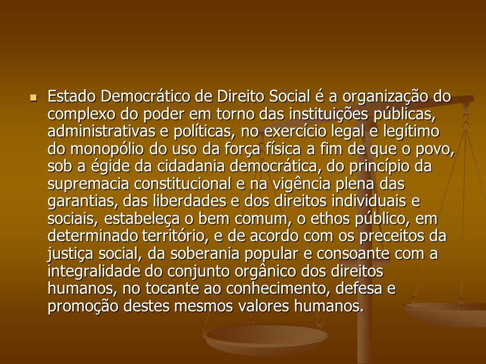 Estado Democrático de Direito Social é a organização do complexo do poder em torno das instituições públicas, administrativas e políticas, no exercíci