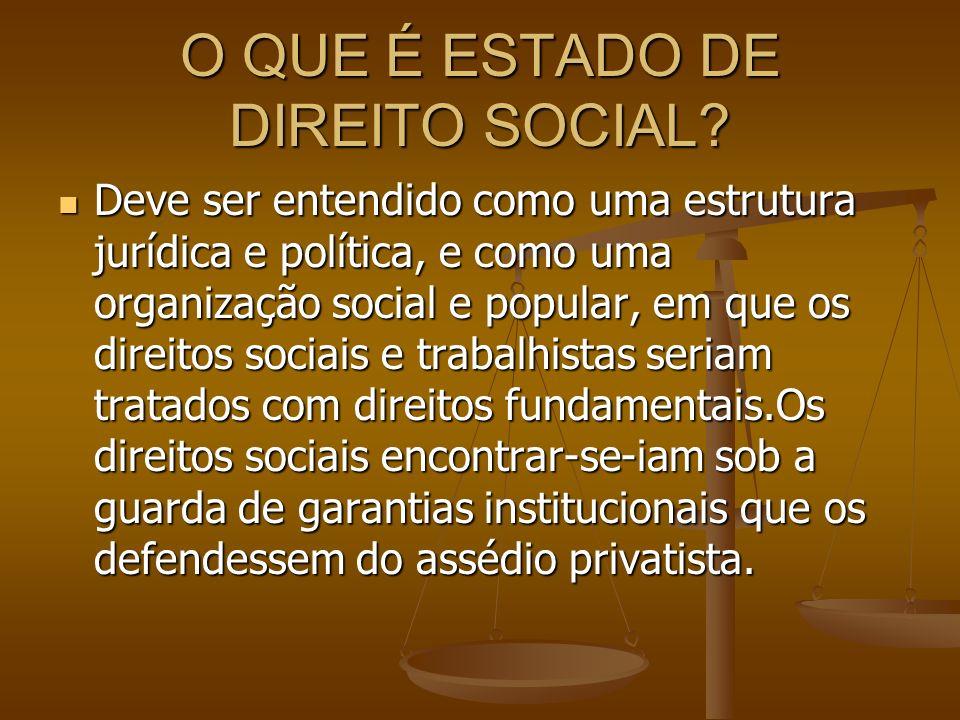 O QUE É ESTADO DE DIREITO SOCIAL? Deve ser entendido como uma estrutura jurídica e política, e como uma organização social e popular, em que os direit