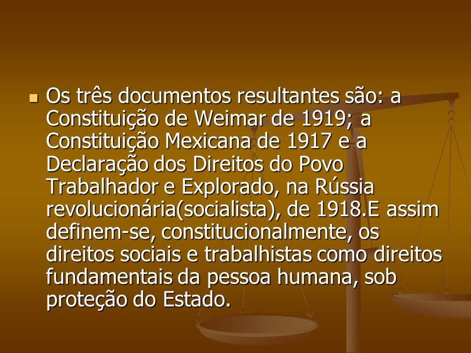 Os três documentos resultantes são: a Constituição de Weimar de 1919; a Constituição Mexicana de 1917 e a Declaração dos Direitos do Povo Trabalhador