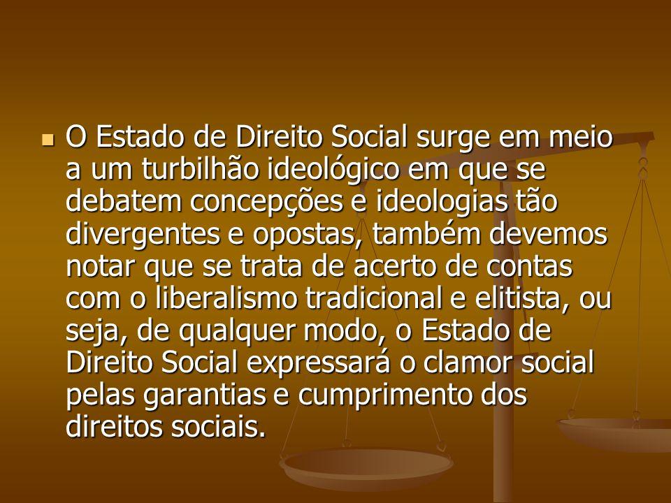 O Estado de Direito Social surge em meio a um turbilhão ideológico em que se debatem concepções e ideologias tão divergentes e opostas, também devemos