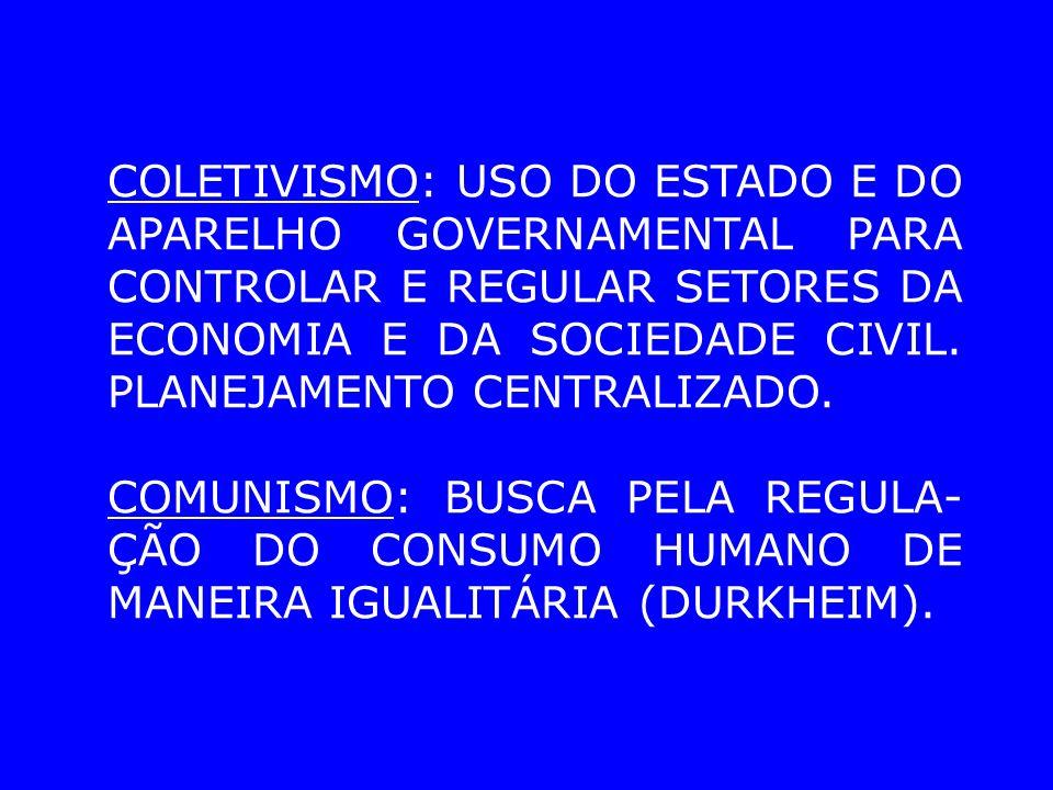 COLETIVISMO: USO DO ESTADO E DO APARELHO GOVERNAMENTAL PARA CONTROLAR E REGULAR SETORES DA ECONOMIA E DA SOCIEDADE CIVIL.