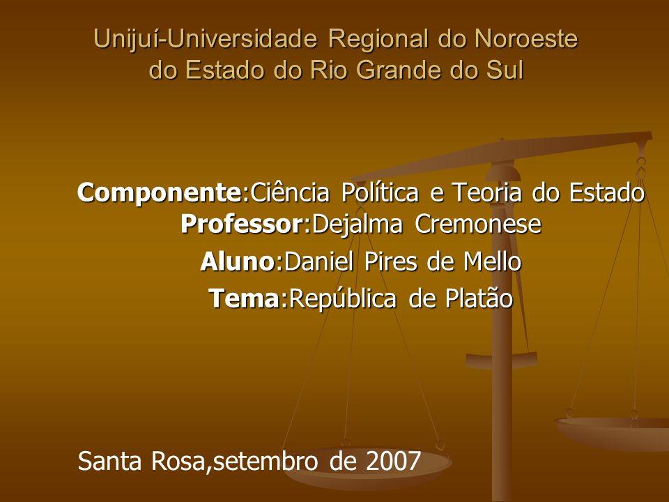 Unijuí-Universidade Regional do Noroeste do Estado do Rio Grande do Sul Componente:Ciência Política e Teoria do Estado Professor:Dejalma Cremonese Alu