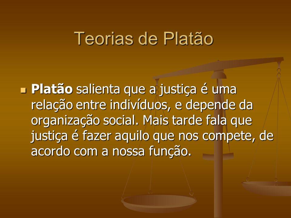Teorias de Platão Platão salienta que a justiça é uma relação entre indivíduos, e depende da organização social. Mais tarde fala que justiça é fazer a