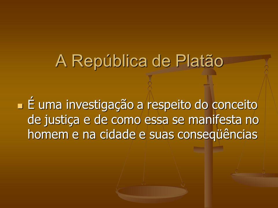 A República de Platão É uma investigação a respeito do conceito de justiça e de como essa se manifesta no homem e na cidade e suas conseqüências É uma investigação a respeito do conceito de justiça e de como essa se manifesta no homem e na cidade e suas conseqüências