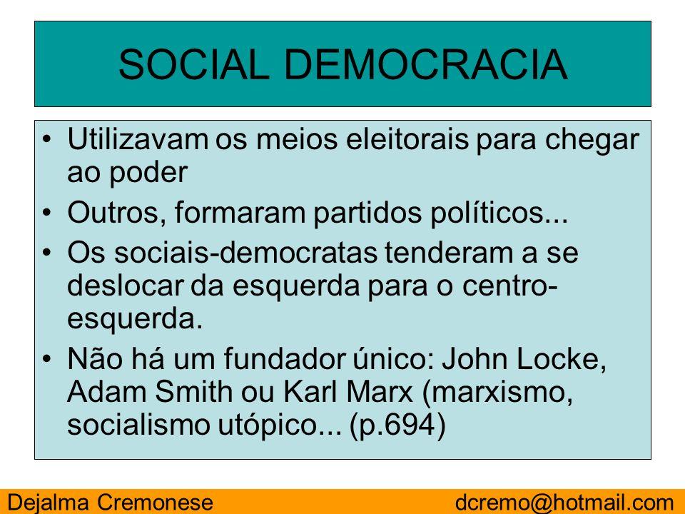 Utilizavam os meios eleitorais para chegar ao poder Outros, formaram partidos políticos... Os sociais-democratas tenderam a se deslocar da esquerda pa