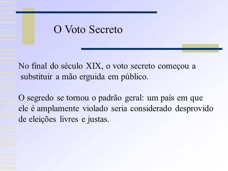 No final do século XIX, o voto secreto começou a substituir a mão erguida em público.