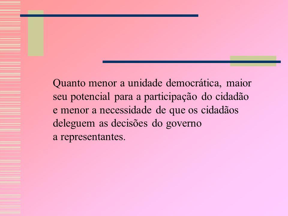 Quanto menor a unidade democrática, maior seu potencial para a participação do cidadão e menor a necessidade de que os cidadãos deleguem as decisões do governo a representantes.