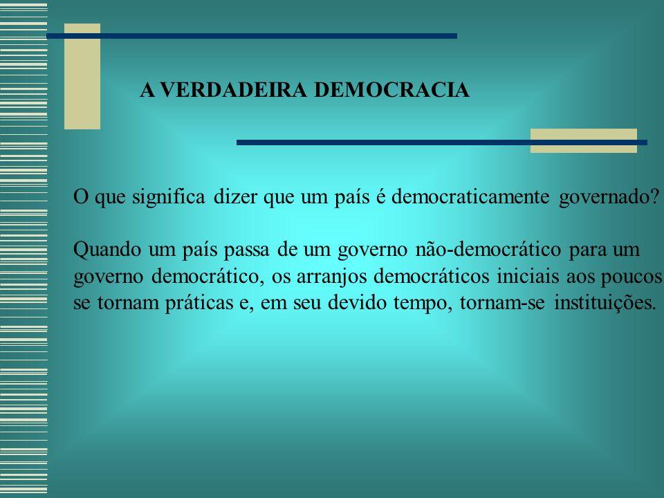 A VERDADEIRA DEMOCRACIA O que significa dizer que um país é democraticamente governado.