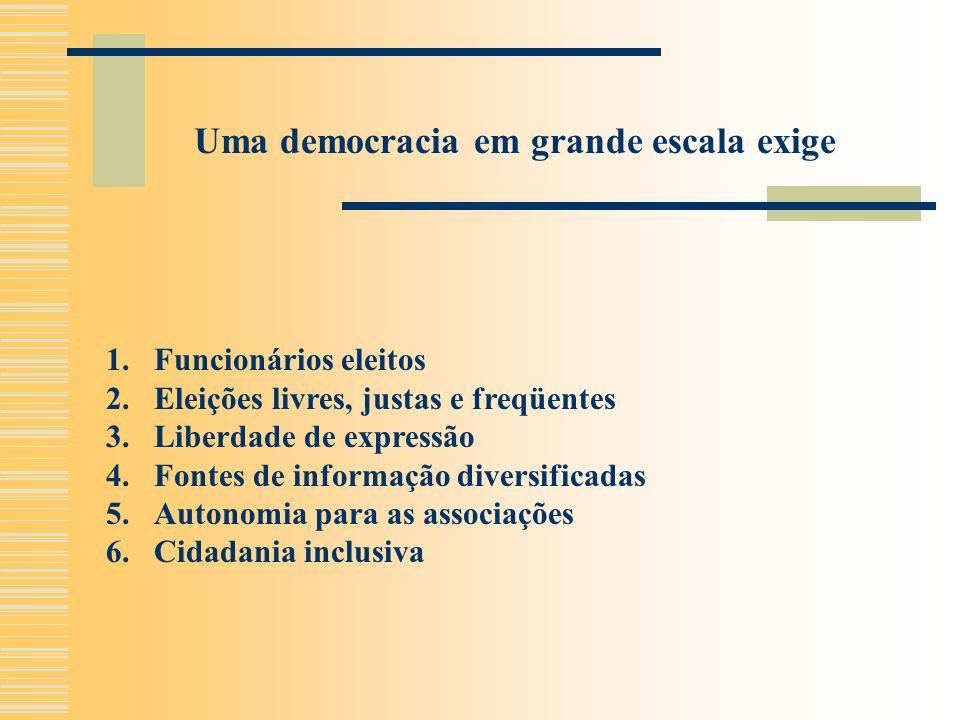 1.Funcionários eleitos 2.Eleições livres, justas e freqüentes 3.Liberdade de expressão 4.Fontes de informação diversificadas 5.Autonomia para as associações 6.Cidadania inclusiva Uma democracia em grande escala exige