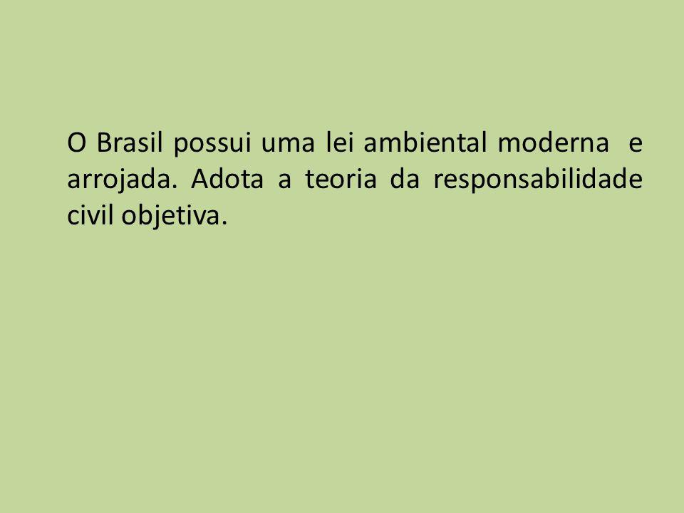 O Brasil possui uma lei ambiental moderna e arrojada. Adota a teoria da responsabilidade civil objetiva.