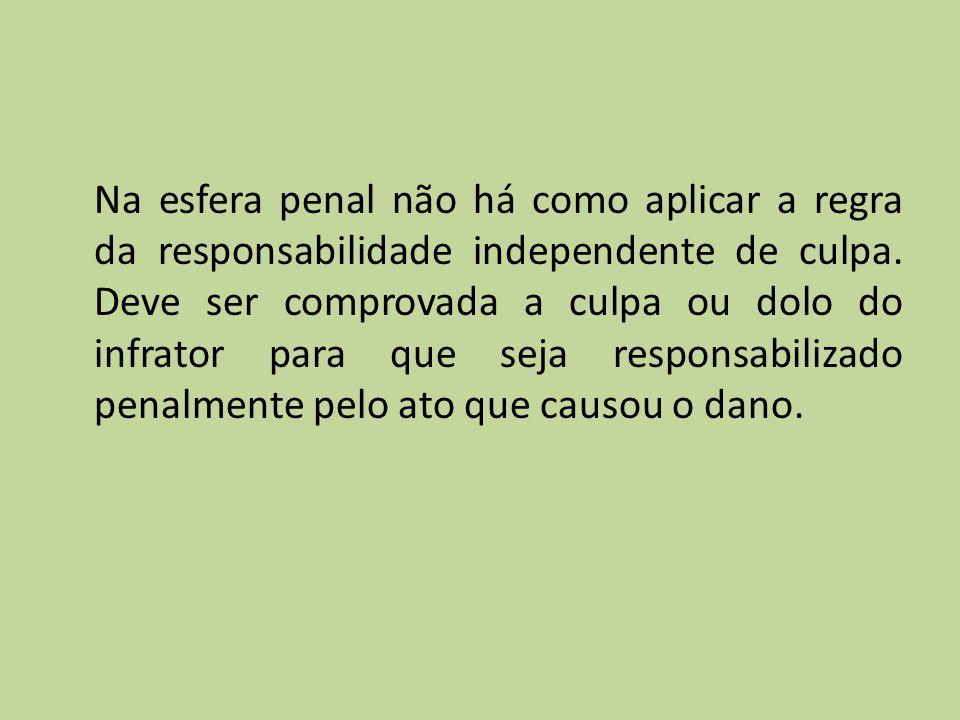 Na esfera penal não há como aplicar a regra da responsabilidade independente de culpa. Deve ser comprovada a culpa ou dolo do infrator para que seja r