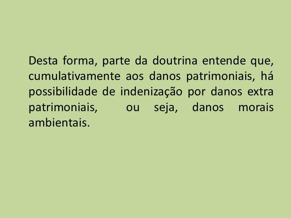 Desta forma, parte da doutrina entende que, cumulativamente aos danos patrimoniais, há possibilidade de indenização por danos extra patrimoniais, ou s