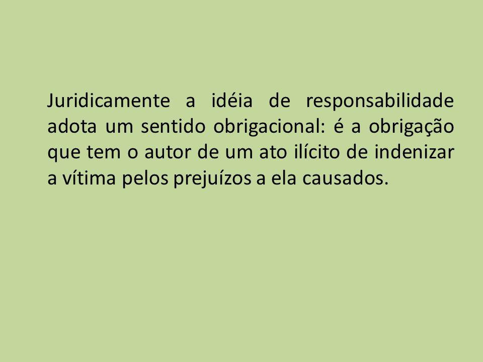 Juridicamente a idéia de responsabilidade adota um sentido obrigacional: é a obrigação que tem o autor de um ato ilícito de indenizar a vítima pelos prejuízos a ela causados.