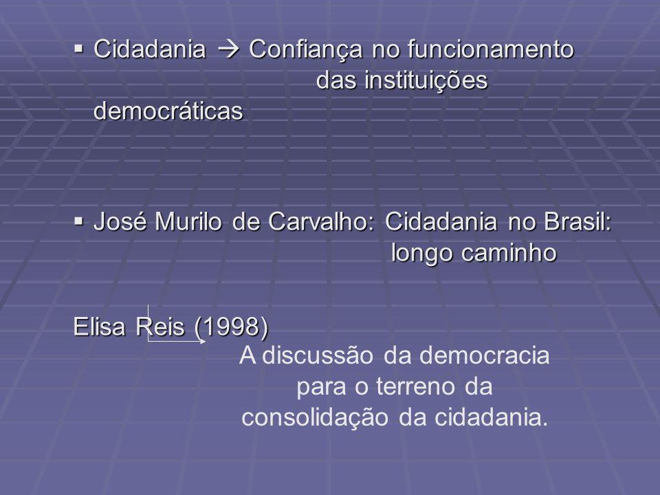 Cidadania Confiança no funcionamento das instituições democráticas Cidadania Confiança no funcionamento das instituições democráticas José Murilo de C