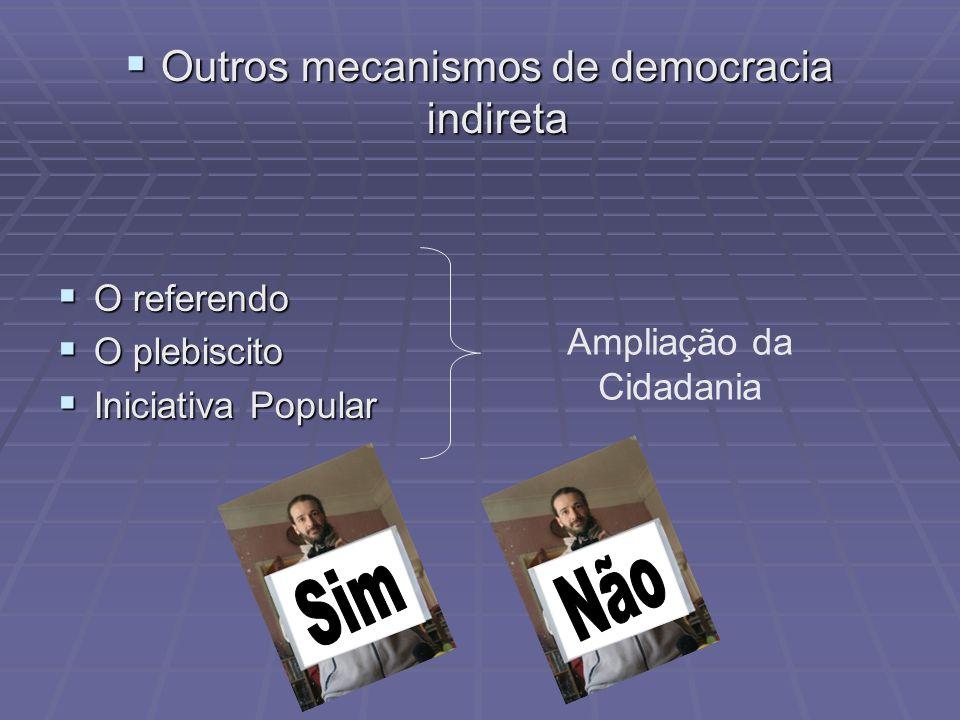 Outros mecanismos de democracia indireta Outros mecanismos de democracia indireta O referendo O referendo O plebiscito O plebiscito Iniciativa Popular