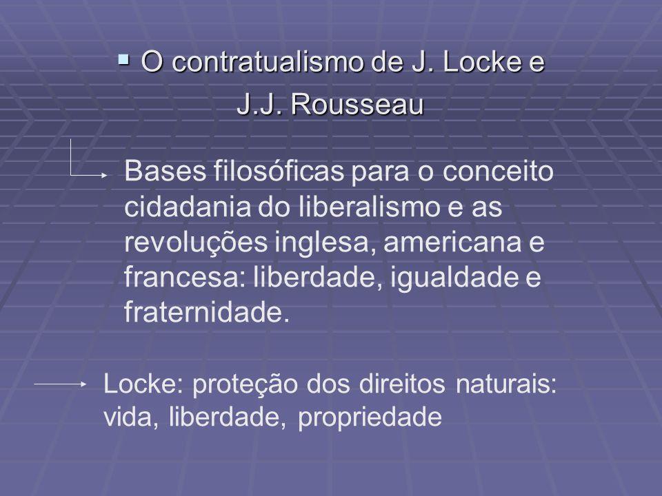 O contratualismo de J. Locke e O contratualismo de J. Locke e J.J. Rousseau Bases filosóficas para o conceito cidadania do liberalismo e as revoluções