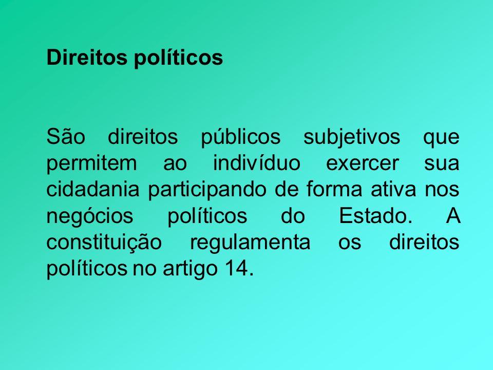 Direitos políticos São direitos públicos subjetivos que permitem ao indivíduo exercer sua cidadania participando de forma ativa nos negócios políticos