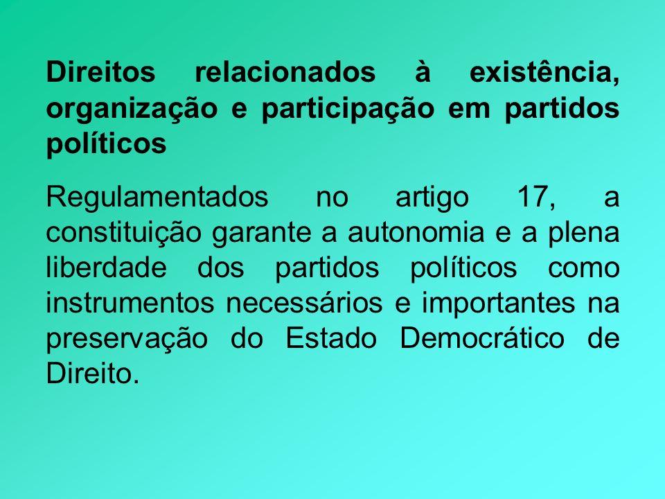 Direitos relacionados à existência, organização e participação em partidos políticos Regulamentados no artigo 17, a constituição garante a autonomia e