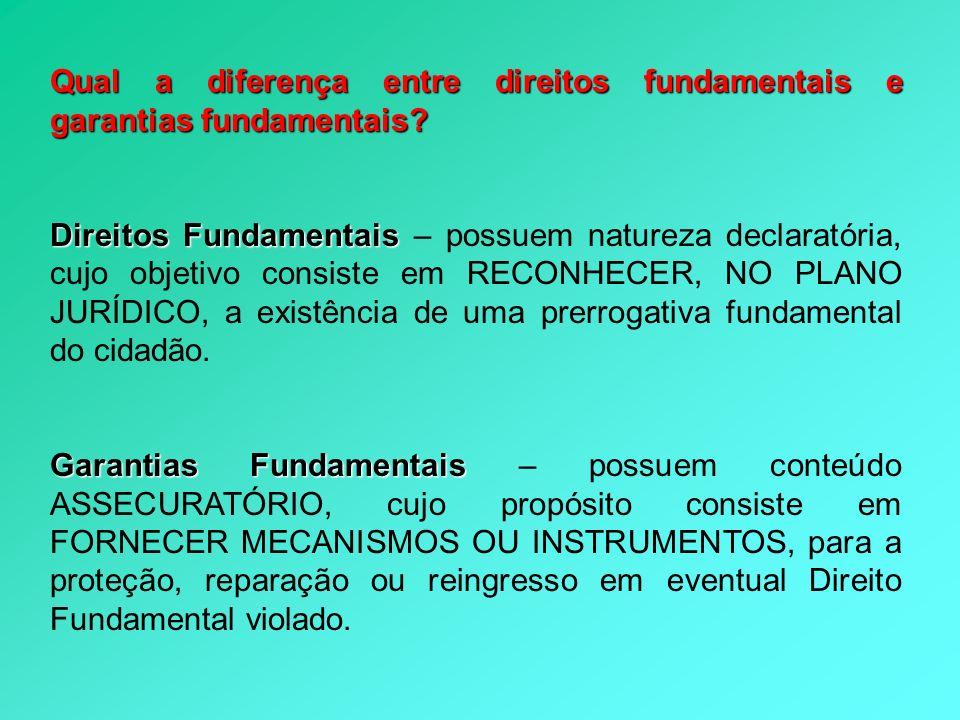 Qual a diferença entre direitos fundamentais e garantias fundamentais? Direitos Fundamentais Direitos Fundamentais – possuem natureza declaratória, cu