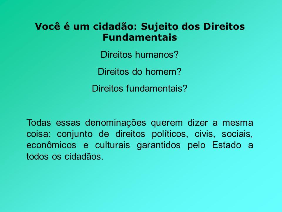 Você é um cidadão: Sujeito dos Direitos Fundamentais Direitos humanos? Direitos do homem? Direitos fundamentais? Todas essas denominações querem dizer