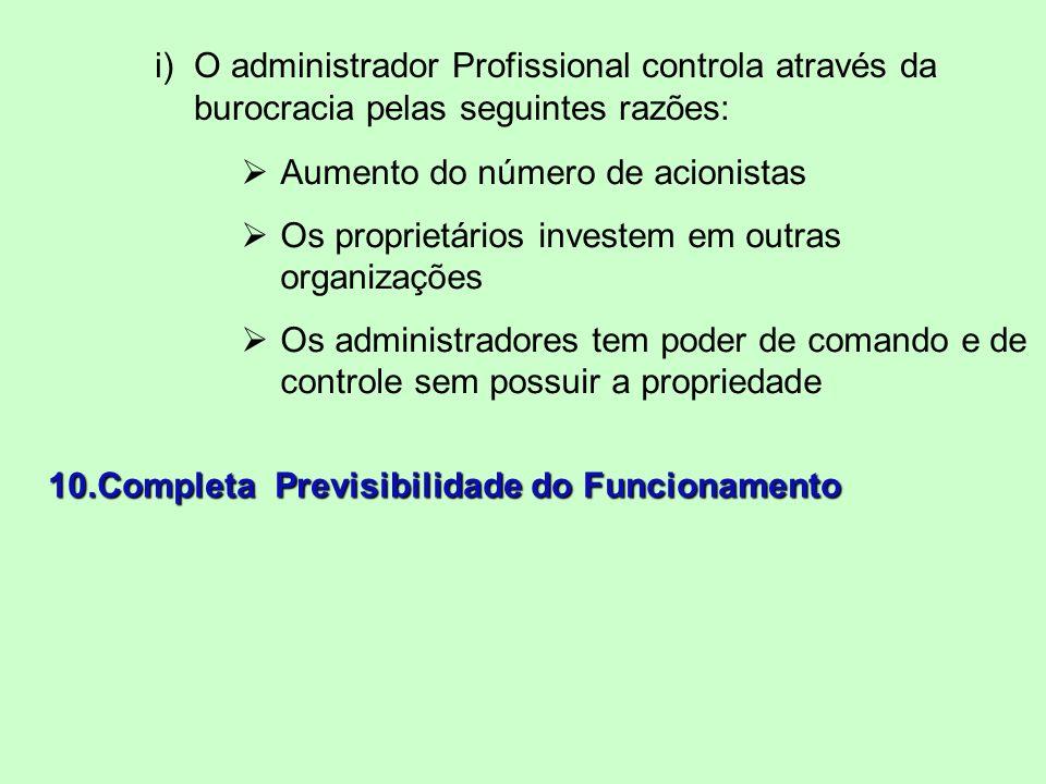 i)O administrador Profissional controla através da burocracia pelas seguintes razões: Aumento do número de acionistas Os proprietários investem em outras organizações Os administradores tem poder de comando e de controle sem possuir a propriedade 10.Completa Previsibilidade do Funcionamento
