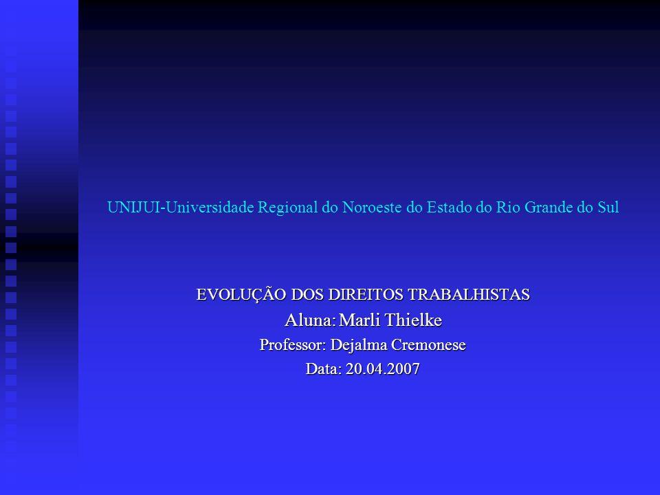 UNIJUI-Universidade Regional do Noroeste do Estado do Rio Grande do Sul EVOLUÇÃO DOS DIREITOS TRABALHISTAS Aluna: Marli Thielke Professor: Dejalma Cre