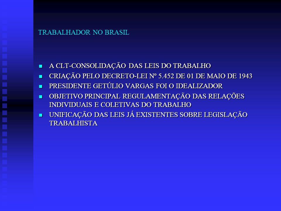TRABALHADOR NO BRASIL A CLT-CONSOLIDAÇÃO DAS LEIS DO TRABALHO A CLT-CONSOLIDAÇÃO DAS LEIS DO TRABALHO CRIAÇÃO PELO DECRETO-LEI Nº 5.452 DE 01 DE MAIO
