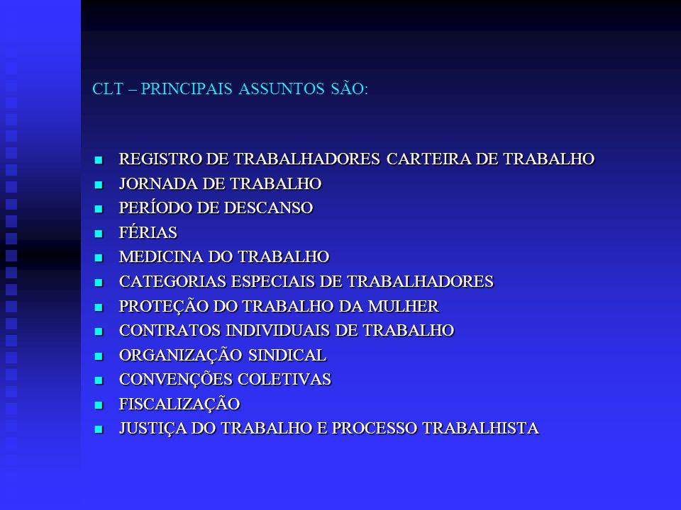 CLT – PRINCIPAIS ASSUNTOS SÃO: REGISTRO DE TRABALHADORES CARTEIRA DE TRABALHO REGISTRO DE TRABALHADORES CARTEIRA DE TRABALHO JORNADA DE TRABALHO JORNA