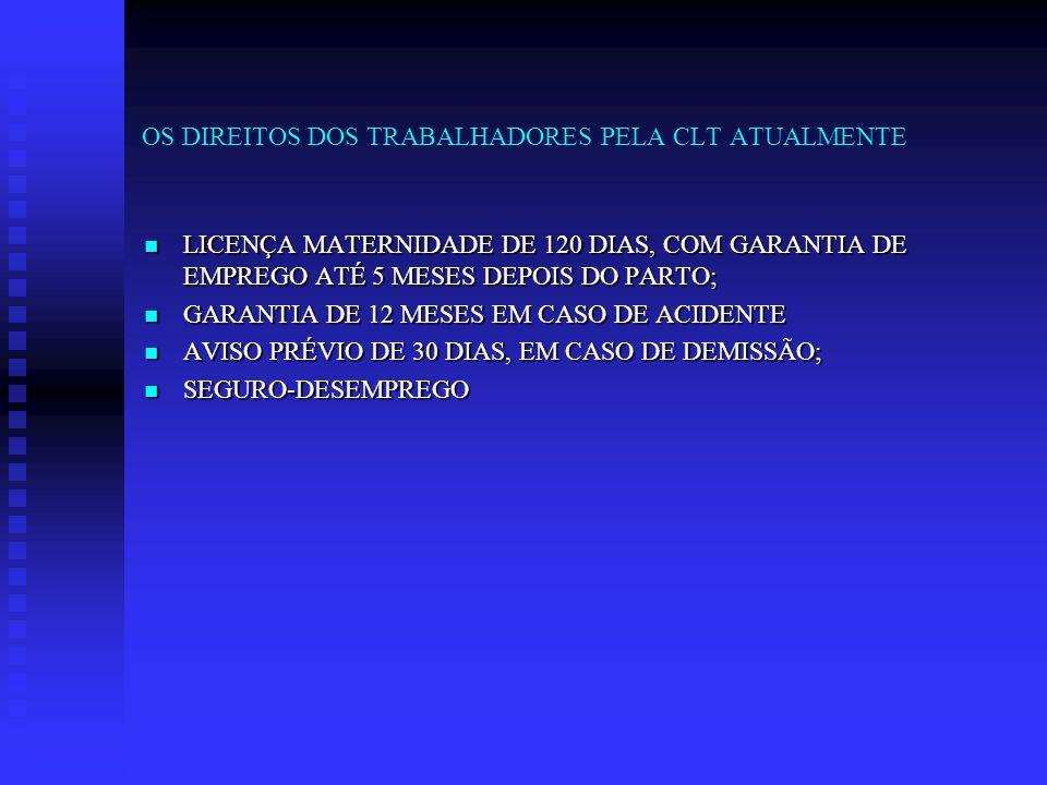 OS DIREITOS DOS TRABALHADORES PELA CLT ATUALMENTE LICENÇA MATERNIDADE DE 120 DIAS, COM GARANTIA DE EMPREGO ATÉ 5 MESES DEPOIS DO PARTO; LICENÇA MATERN