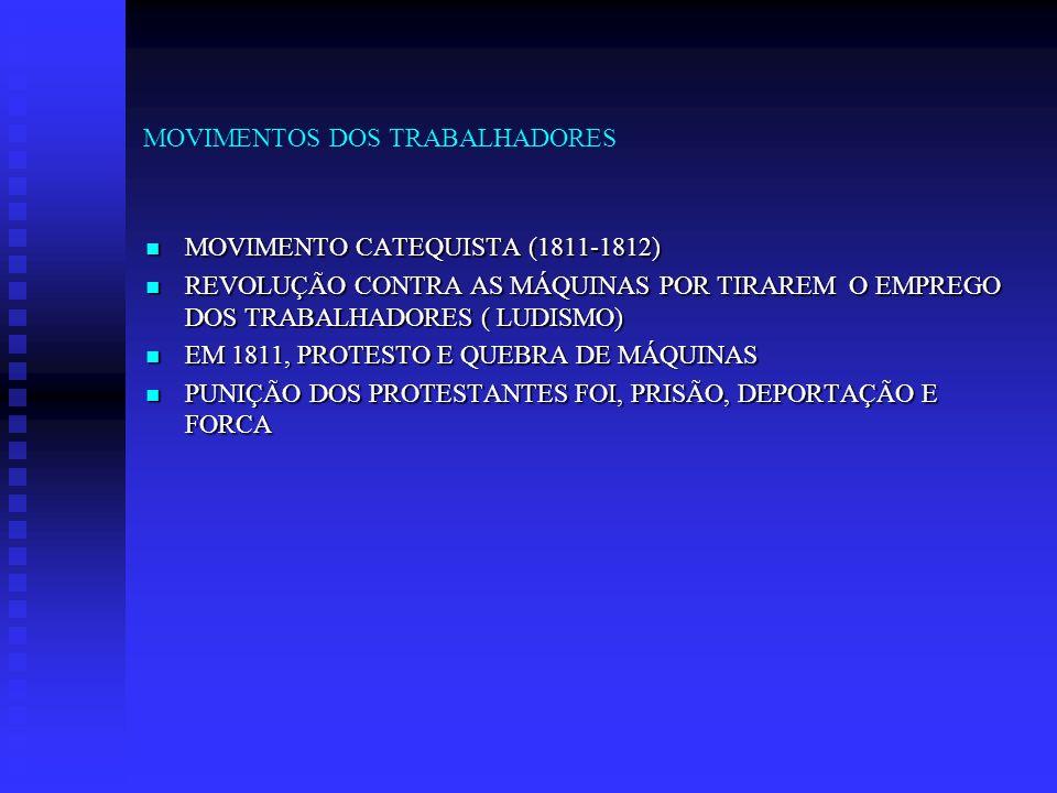 MOVIMENTOS DOS TRABALHADORES MOVIMENTO CATEQUISTA (1811-1812) MOVIMENTO CATEQUISTA (1811-1812) REVOLUÇÃO CONTRA AS MÁQUINAS POR TIRAREM O EMPREGO DOS