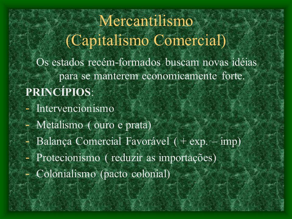 Mercantilismo (Capitalismo Comercial) Os estados recém-formados buscam novas idéias para se manterem economicamente forte. PRINCÍPIOS: - Intervencioni