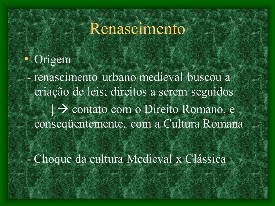Renascimento Origem - renascimento urbano medieval buscou a criação de leis; direitos a serem seguidos | contato com o Direito Romano, e conseqüenteme