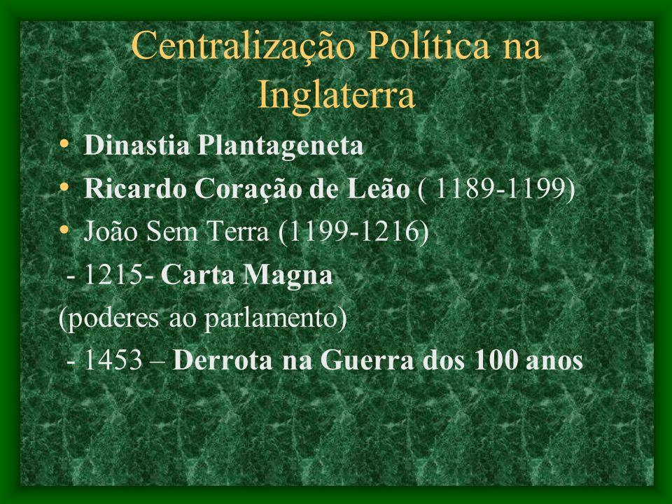 Centralização Política na Inglaterra Dinastia Plantageneta Ricardo Coração de Leão ( 1189-1199) João Sem Terra (1199-1216) - 1215- Carta Magna (podere