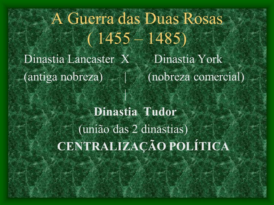 A Guerra das Duas Rosas ( 1455 – 1485) Dinastia Lancaster X Dinastia York (antiga nobreza) | (nobreza comercial) | Dinastia Tudor (união das 2 dinasti