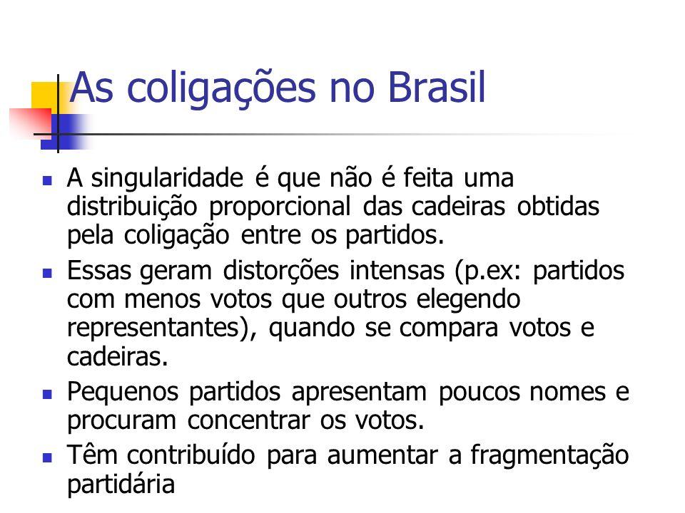 As coligações no Brasil A singularidade é que não é feita uma distribuição proporcional das cadeiras obtidas pela coligação entre os partidos.