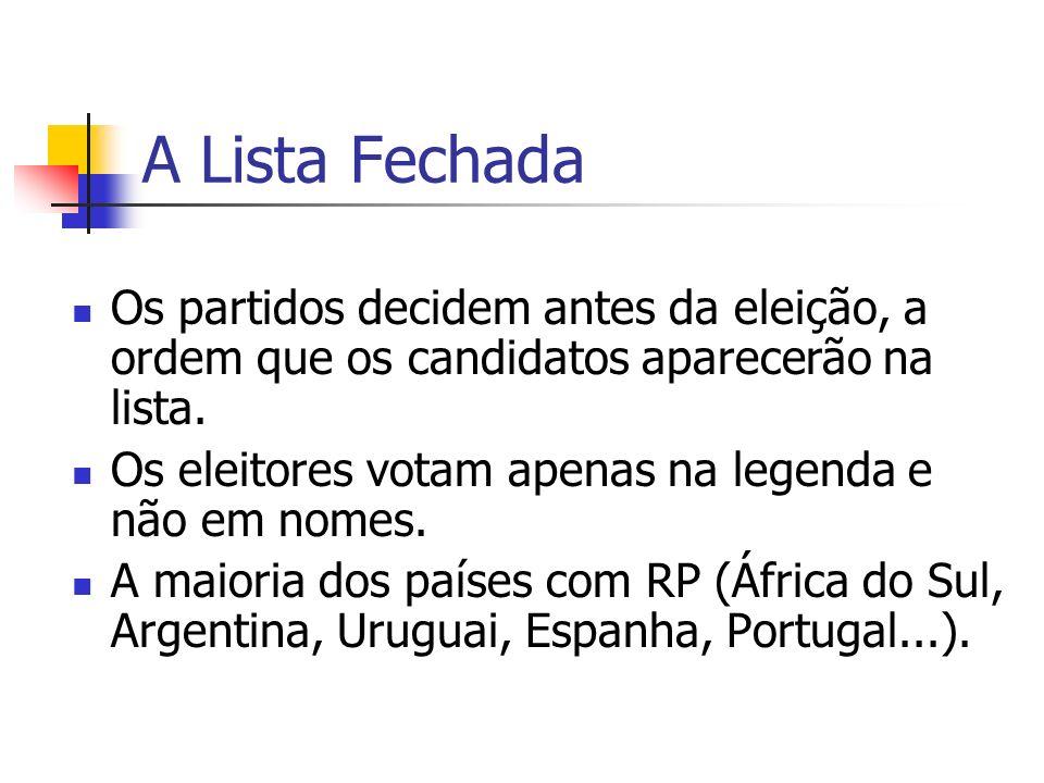 A Lista Fechada Os partidos decidem antes da eleição, a ordem que os candidatos aparecerão na lista.