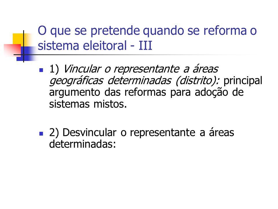 O que se pretende quando se reforma o sistema eleitoral - III 1) Vincular o representante a áreas geográficas determinadas (distrito): principal argumento das reformas para adoção de sistemas mistos.
