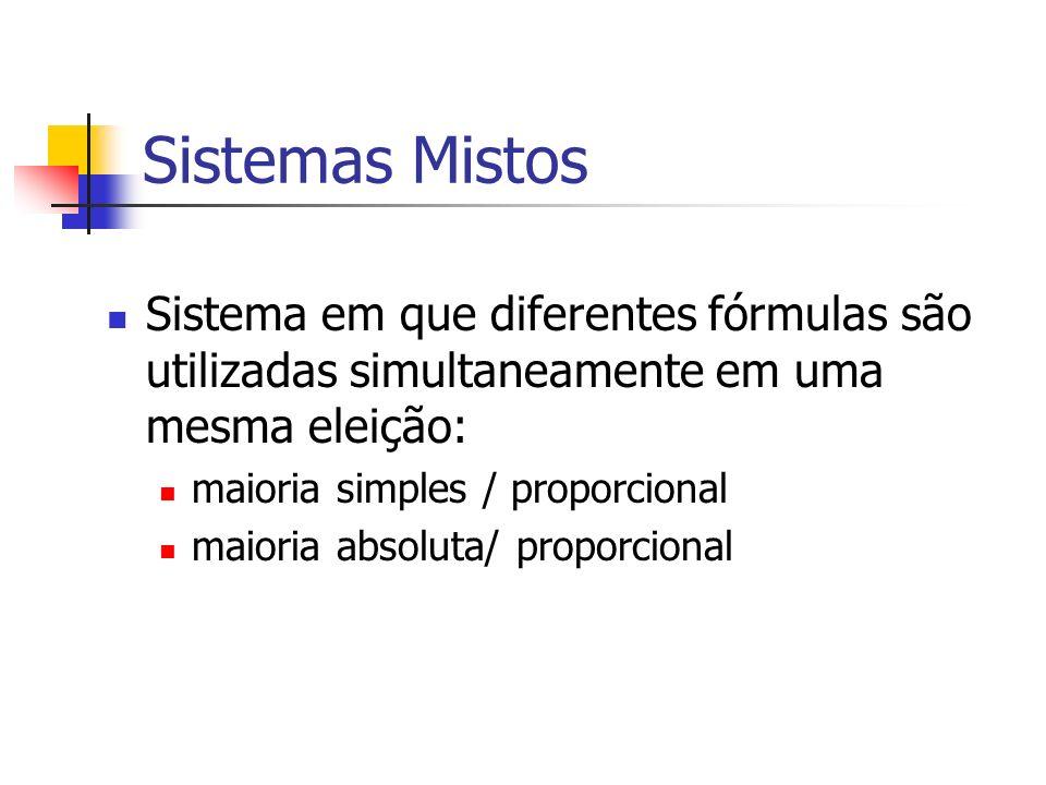 Sistemas Mistos Sistema em que diferentes fórmulas são utilizadas simultaneamente em uma mesma eleição: maioria simples / proporcional maioria absoluta/ proporcional